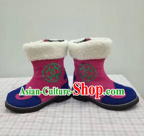 Traditional Chinese Minority Mongol Nationality Ethnic Minorities Children Mongolian Boots Rosy Boots for Kids