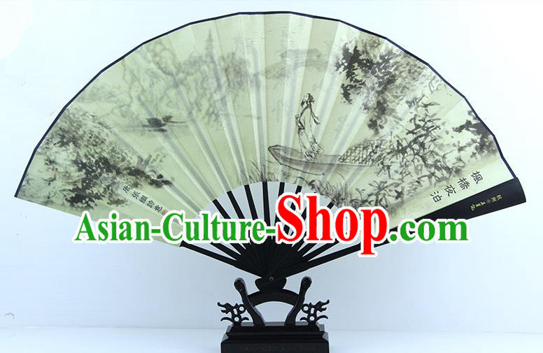 Traditional Chinese Handmade Crafts Ebonize White Folding Fan, China Sensu Painting Soliloquy at Cold Mountain Temple Silk Fan Hanfu Fans for Men
