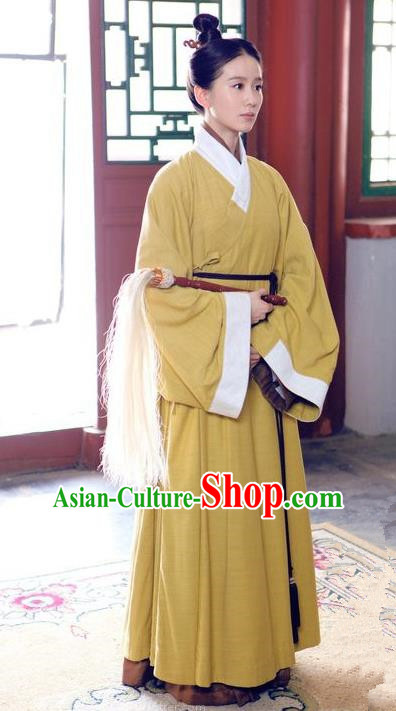 Traditional Ancient Chinese Ming Dynasty Taoist Nun Robes Clothing, Chinese Ancient Priest Frock Costume and Headpiece Complete Set