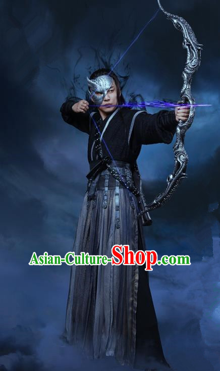 Traditional Ancient Chinese Swordsman Dress Clothing, Chinese Ancient Ming Dynasty Martial Arts Assassin Costume and Headpiece Complete Set for Men