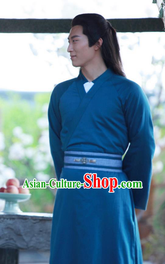 Traditional Ancient Chinese Childe Robe Clothing, Princess Agents Chinese Southern and Northern Dynasties Swordsman Costume and Headpiece Complete Set