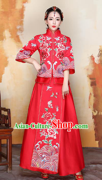 Traditional Ancient Chinese Wedding Costume Handmade XiuHe Suits Embroidery Peony Red Dress Bride Toast Cheongsam, Chinese Style Hanfu Wedding Clothing for Women