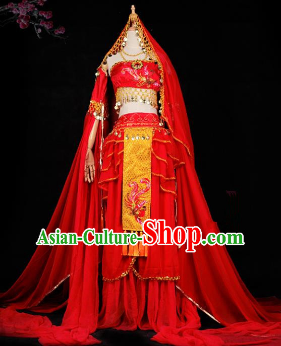 Chinese Ancient Cosplay Tang Dynasty Palace Lady Dance Costumes, Chinese Traditional Red Hanfu Dress Clothing Chinese Cosplay Imperial Princess Costume for Women