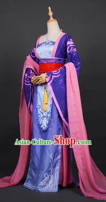 Chinese Ancient Cosplay Tang Dynasty Princess Costumes, Chinese Traditional Purple Dress Clothing Chinese Cosplay Palace Lady Costume for Women