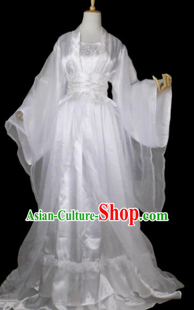 Chinese Ancient Cosplay Tang Dynasty Princess Costumes, Chinese Traditional White Fairy Dress Clothing Chinese Cosplay Palace Lady Costume for Women
