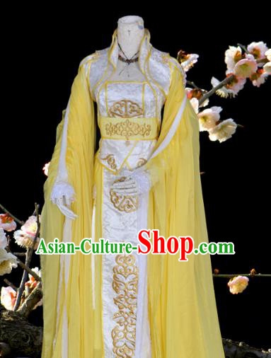 Chinese Ancient Cosplay Tang Dynasty Princess Costumes, Chinese Traditional Yellow Dress Clothing Chinese Cosplay Palace Lady Costume for Women