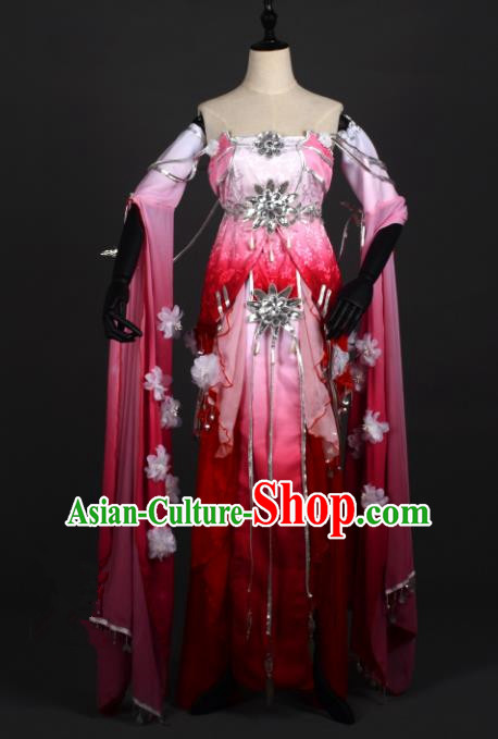 Chinese Ancient Cosplay Han Dynasty Young Lady Costumes, Chinese Traditional Embroidery Wine Red Hanfu Dress Clothing Chinese Swordswoman Fairy Costume for Women