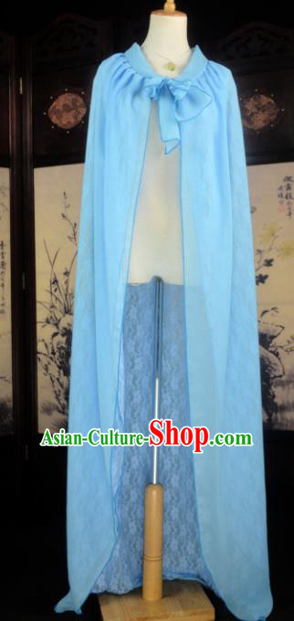 Chinese Ancient Cosplay Tang Dynasty Imperial Princess Fairy Blue Cloak, Chinese Traditional Hanfu Dress Clothing Chinese Palace Lady Cape for Women