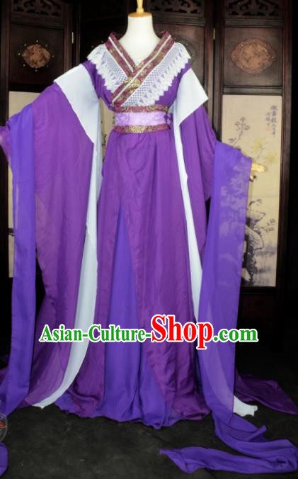 Chinese Ancient Cosplay Tang Dynasty Imperial Princess Fairy Costumes, Chinese Traditional Hanfu Purple Dress Clothing Chinese Palace Lady Dance Costume for Women