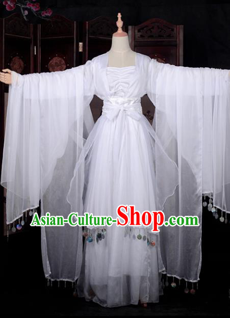 Chinese Ancient Cosplay Young Lady Princess Dance White Dress, Chinese Traditional Hanfu Clothing Chinese Fairy Flying Apsaras Costume for Women