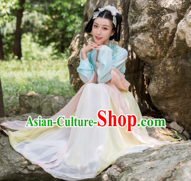 Traditional Ancient Chinese Tang Dynasty Imperial Princess Costume Embroidery Elegant Hanfu Clothing, Chinese Palace Lady Dance Dress for Women