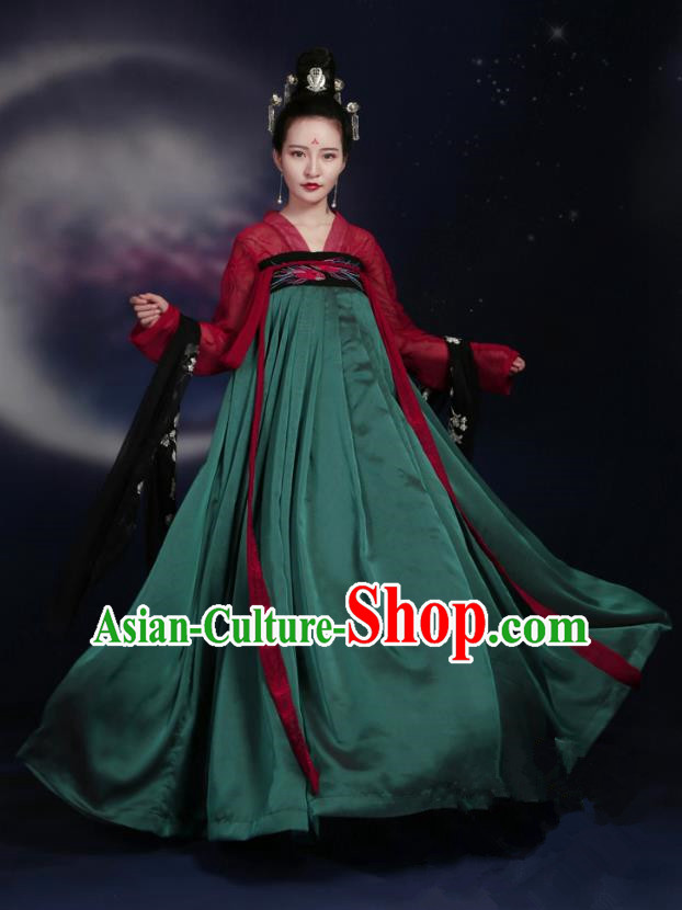 Traditional Ancient Chinese Tang Dynasty Imperial Concubine Costume Embroidery Elegant Hanfu Clothing, Chinese Palace Lady Dance Dress for Women