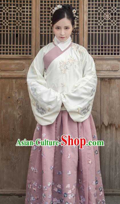 Traditional Ancient Chinese Ming Dynasty Imperial Princess Costume Embroidery Slant Opening Blouse, Elegant Hanfu Clothing Chinese Palace Lady Sleeve Placket Shirts for Women