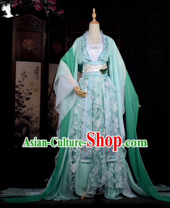 Chinese Ancient Cosplay Tang Dynasty Princess Embroidery Green Dress, Chinese Traditional Hanfu Clothing Chinese Fairy Costume for Women
