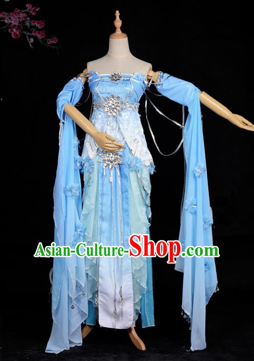 Chinese Ancient Cosplay Tang Dynasty Chivalrous Lady Embroidery Blue Dress, Chinese Traditional Hanfu Clothing Chinese Fairy Costume for Women