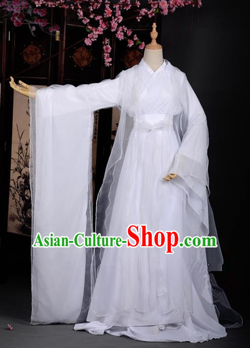 Chinese Ancient Cosplay Tang Dynasty Little Dragon Maiden White Dress, Chinese Traditional Hanfu Clothing Chinese Princess Fairy Costume for Women