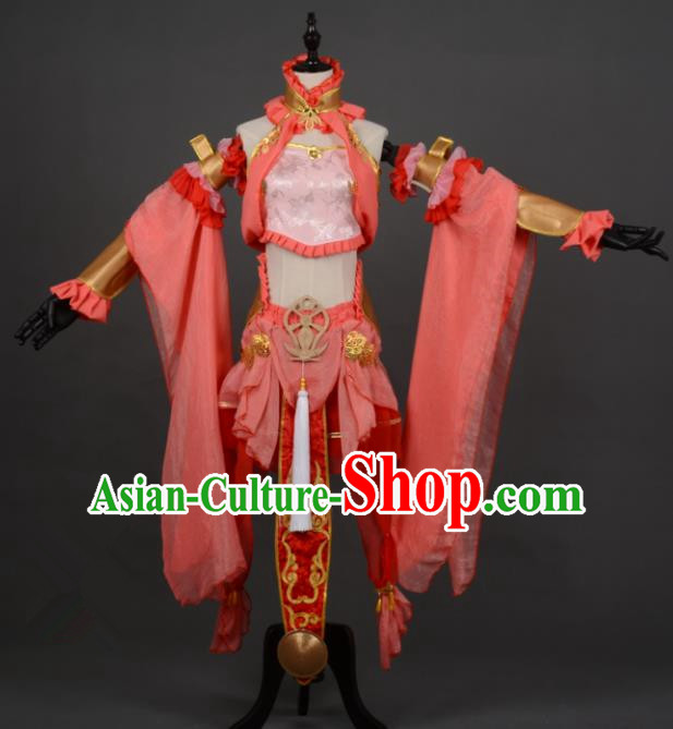 Chinese Ancient Cosplay Tang Dynasty Chivalrous Lady Red Dress, Chinese Traditional Hanfu Clothing Chinese Princess Fairy Costume for Women