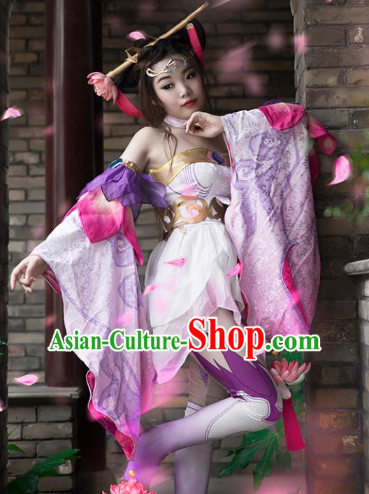 Chinese Ancient Cosplay Tang Dynasty Chivalrous Lady Purple Dress, Chinese Traditional Hanfu Clothing Chinese Princess Fairy Costume for Women