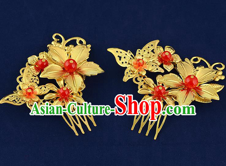 Traditional Handmade Chinese Ancient Classical Hair Accessories Xiuhe Suit Golden Butterfly Flower Hairpin Hair Comb, Hair Sticks Hair Jewellery Hair Fascinators for Women