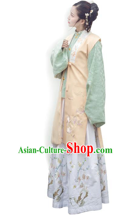 Traditional Ancient Chinese Ming Dynasty Noblewoman Costume Embroidery Apricot Long Vest, Chinese Palace Lady Cardigan Dress Upper Outer Garment for Women