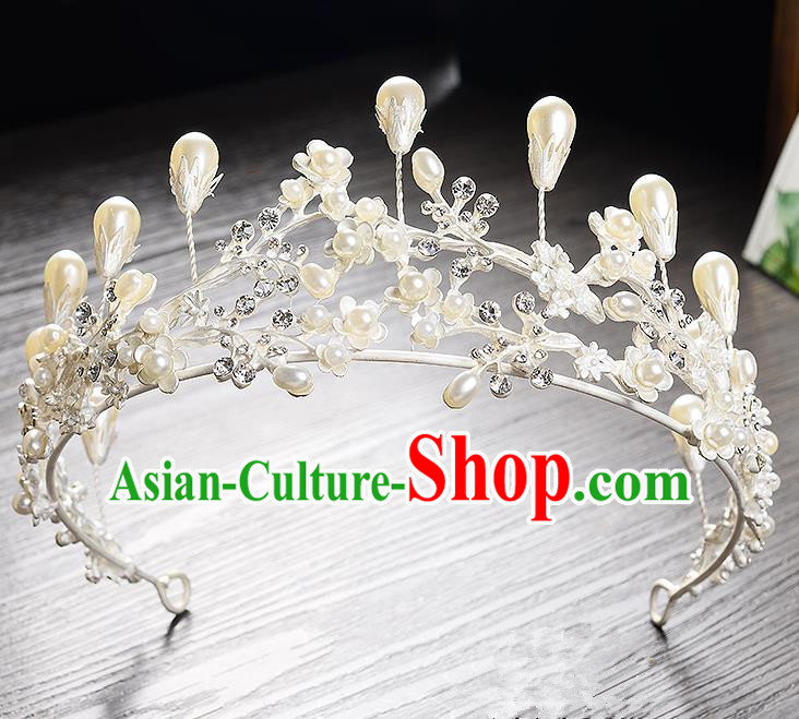 Top Grade Handmade Chinese Classical Hair Accessories Baroque Style Headband White Pearls Princess Royal Crown, Hair Sticks Hair Jewellery Hair Clasp for Women
