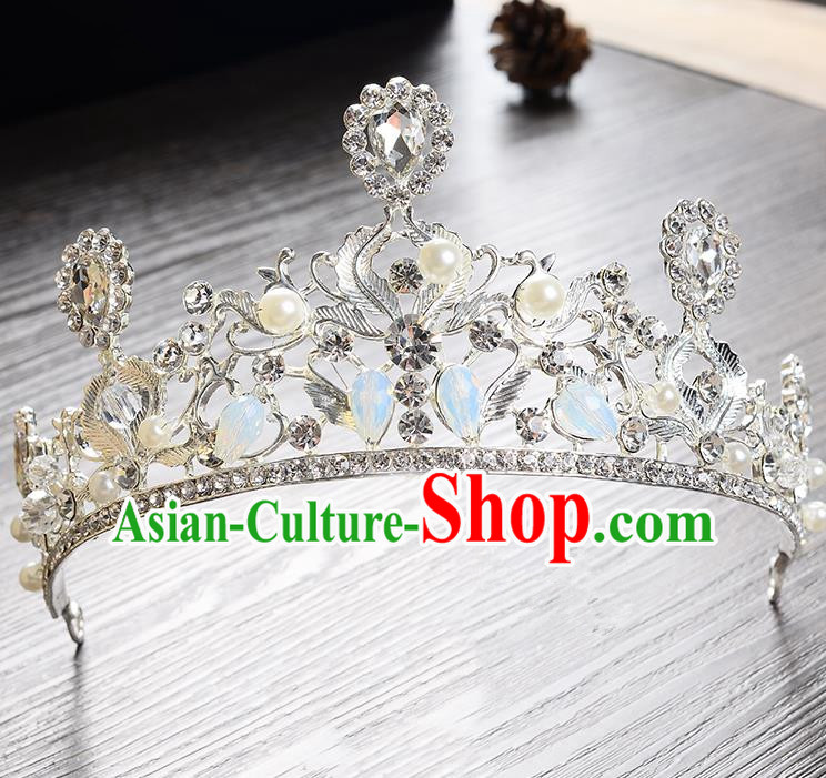 Top Grade Handmade Chinese Classical Hair Accessories Baroque Style Headband Opal Princess Royal Crown, Hair Sticks Hair Jewellery Hair Clasp for Women