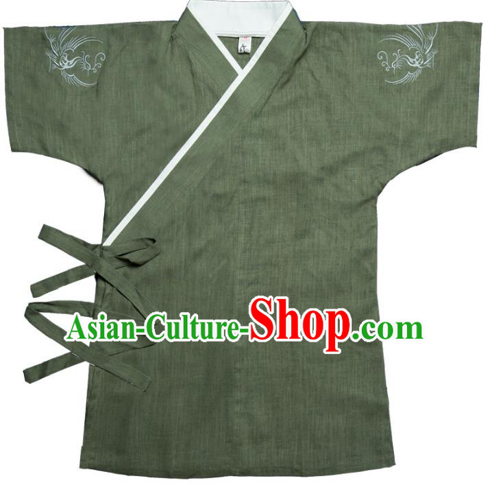 Traditional Ancient Chinese National Costume Hanfu Green Shirts, China Tang Suit Upper Outer Garment Embroidery Clothing for Men
