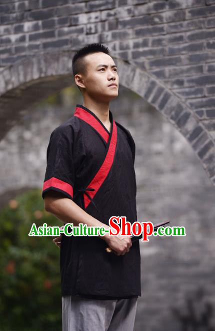 Traditional Chinese Han Dynasty Nobility Childe Hanfu Costume Slant Opening Black Linen Shirt, China Ancient Martial Arts Upper Garment Clothing for Men