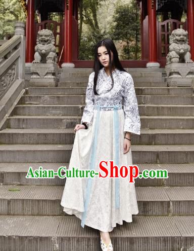 Traditional Chinese Han Dynasty Young Lady Costume, China Ancient Hanfu Dress Princess Clothing for Women