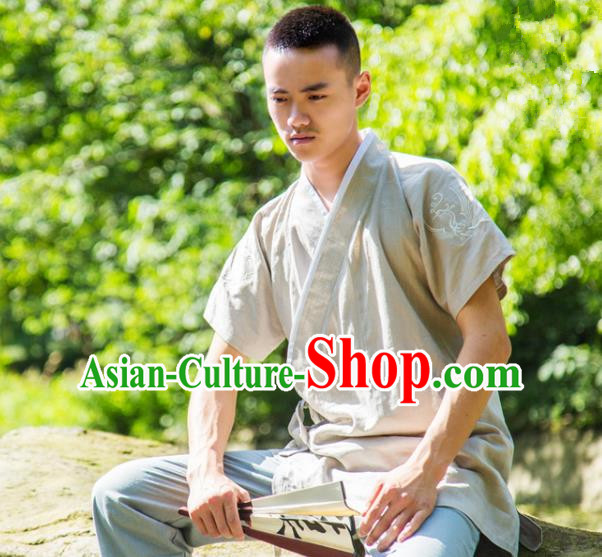 Traditional Ancient Chinese National Costume Hanfu Beige Shirts, China Tang Suit Upper Outer Garment Embroidery Clothing for Men