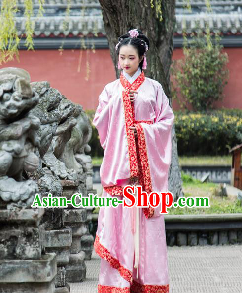 Traditional Chinese Han Dynasty Palace Princess Wide Sleeve Costume, China Ancient Hanfu Pink Dress Imperial Concubine Embroidery Clothing for Women