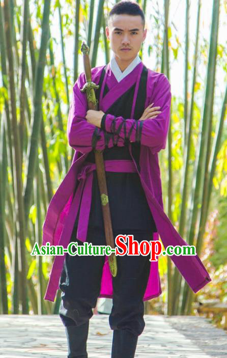 Traditional Chinese National Martial Arts Costume, China Ancient Ming Dynasty Jiang hu Swordsman Clothing for Men