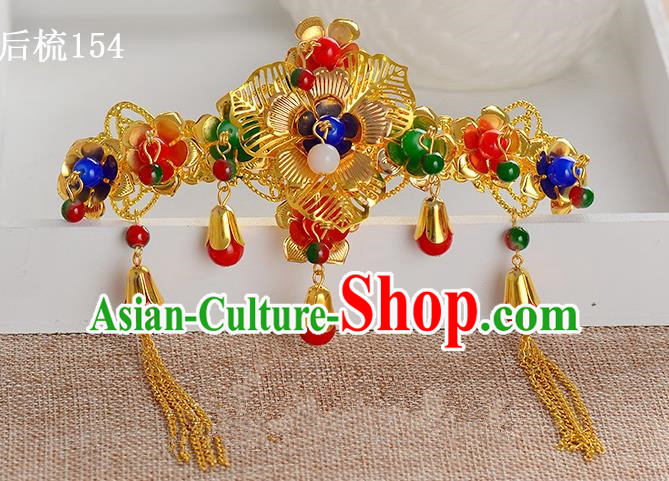 Traditional Handmade Chinese Ancient Classical Hair Accessories Xiuhe Suit Golden Flowers Beads Tassel Hair Comb, Hair Sticks Hair Jewellery Hair Fascinators for Women