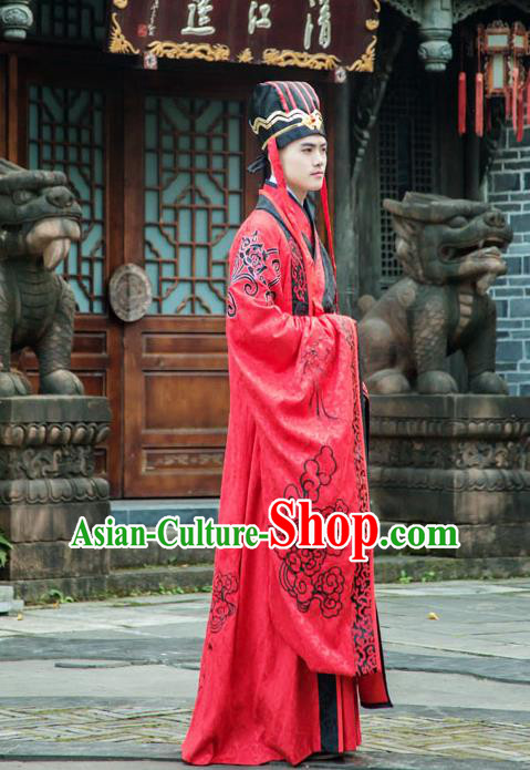 Traditional Chinese Han Dynasty Prince Hanfu Wedding Costume, China Ancient Red Palace Embroidery Clothing for Men
