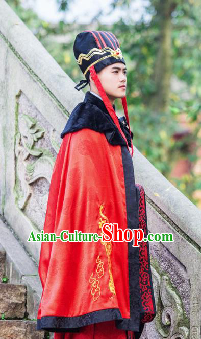 Traditional Chinese Han Dynasty Prince Hanfu Costume Red Cloak, China Ancient Scholar Embroidery Cape Clothing for Men