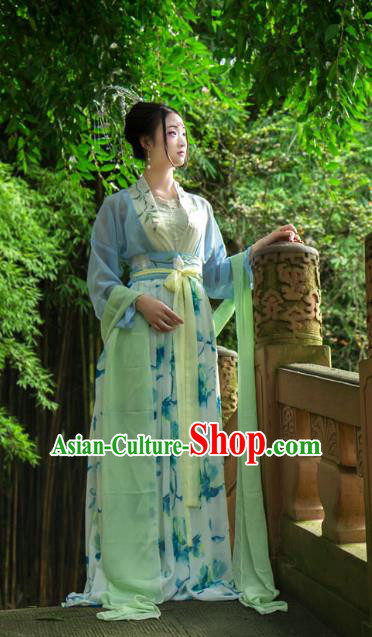 Traditional Chinese Tang Dynasty Imperial Consort Hanfu Printing Blue Costume, China Ancient Slip Dress Palace Princess Peri Clothing for Women