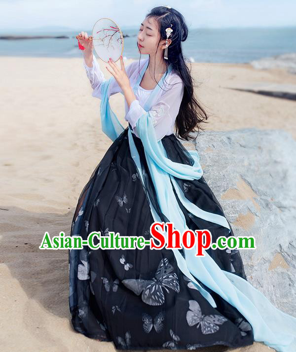 Traditional Ancient Chinese Costume Ming Dynasty Young Lady Embroidery Butterfly Dress, Elegant Hanfu Clothing Chinese Palace Princess Costume for Women