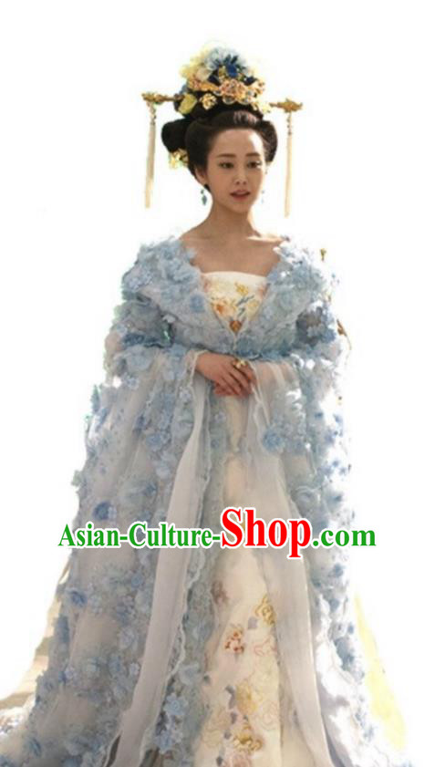 Traditional Chinese Tang Dynasty Imperial Consort Embroidery Costume and Headpiece Complete Set, Once Upon a Time Chinese Ancient Palace Lady Queen Hanfu Dress for Women