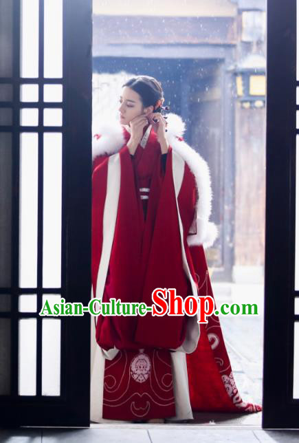 Traditional Chinese Qin Dynasty Imperial Concubine Embroidery Costume and Headpiece Complete Set, The King Woman Chinese Ancient Palace Lady Hanfu Dress