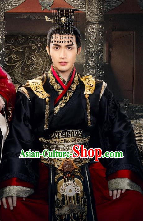 Traditional Chinese Qin Dynasty King Embroidery Dragon Costume and Headpiece Complete Set, The King Woman Chinese Ancient Imperial Emperor Hanfu Robe