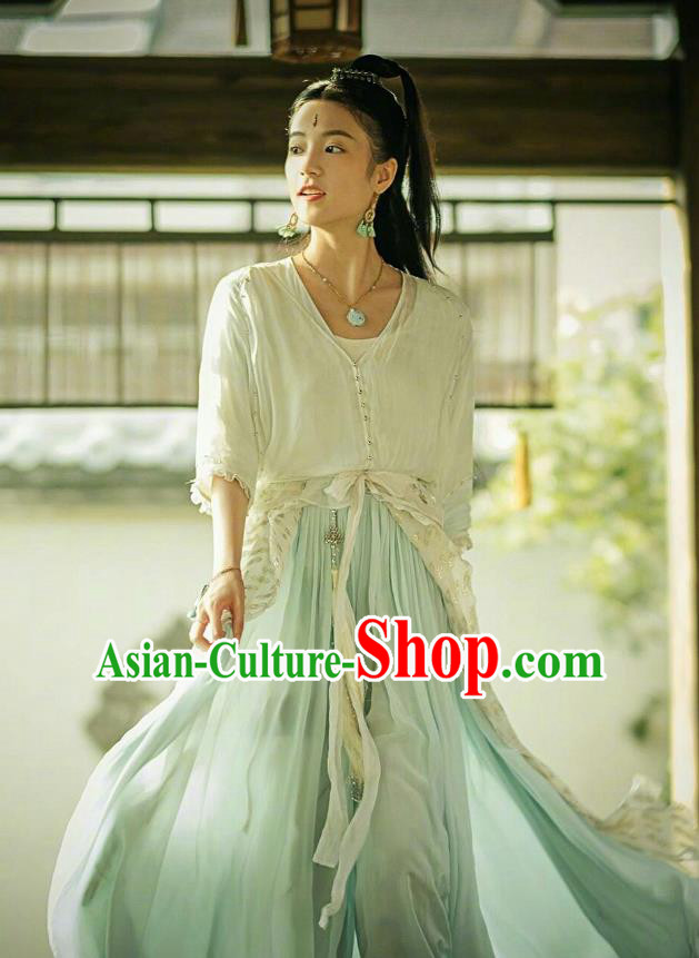 Traditional Chinese Ancient Times Swordswoman Fairy Costume and Headpiece Complete Set, Xuan-Yuan Sword Legend  The Clouds of Han Chinese Chivalrous Women Hanfu Dress