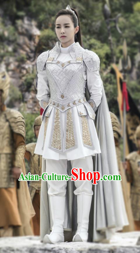 Traditional Chinese Southern and Northern Dynasties Female General Costume and Headpiece Complete Set, A Life Time Love Chinese Ancient Swordswoman Hanfu Armour Clothing