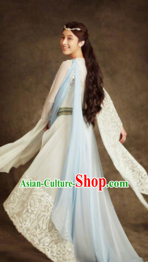 Traditional Chinese Southern and Northern Dynasties Palace Lady Peri Princess Costume and Headpiece Complete Set, A Life Time Love Chinese Ancient Fairy Hanfu Dress Clothing