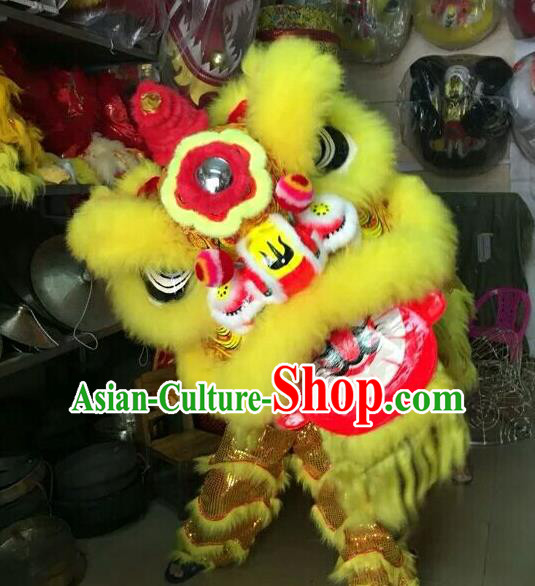 World Lion Dance Competition Yellow Lion Head Lion Dance Costumes Complete Set for Adult