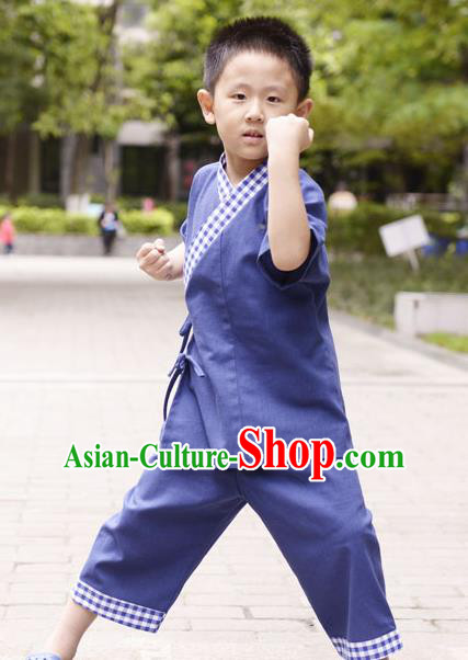 Traditional Chinese Han Dynasty Children Hanfu Kungfu Costume, China Ancient Martial Arts Deep Blue Clothing for Kids