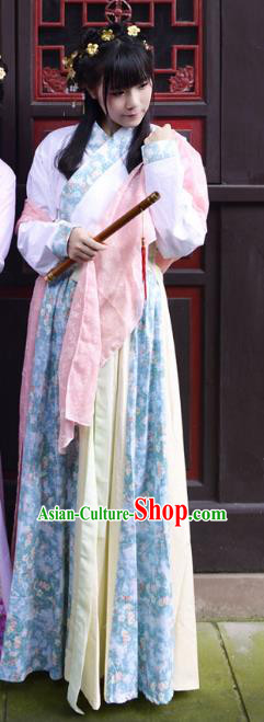 Traditional Ancient Chinese Costume Han Dynasty Princess Blouse and Dress, Elegant Hanfu Clothing Chinese Green Clothing for Women