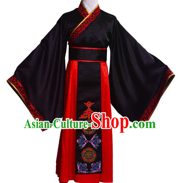 Traditional Chinese Tang Dynasty Nobility Childe Hanfu Wedding Costume Long Robe, China Ancient Bridegroom Clothing Complete Set for Men