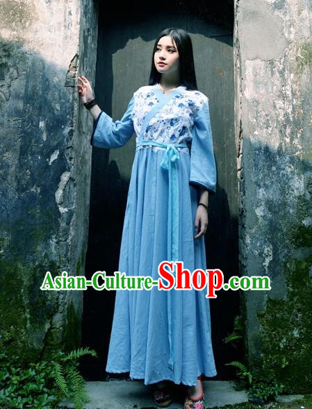 Traditional Chinese Han Dynasty Young Lady Hanfu Costume, China Ancient Princess Blue Dress Clothing for Women