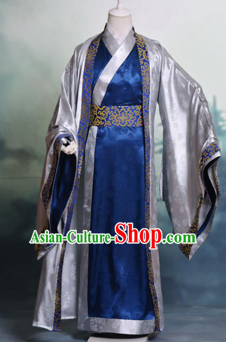 Traditional Chinese Tang Dynasty Nobility Childe Hanfu Costume Silk Long Robe, China Ancient Scholar Clothing Complete Set for Men