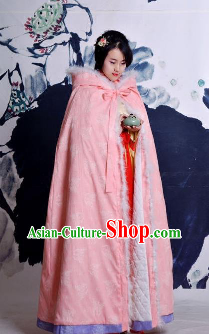 Traditional Ancient Chinese Costume Han Dynasty Princess Pink Cloak, Elegant Hanfu Clothing Chinese Embroidery Butterfly Cape Clothing for Women